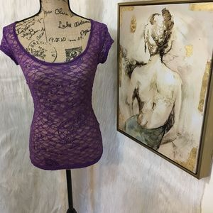 Guess purple lace top